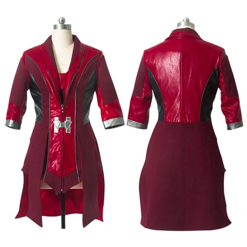 Scarlet Witch Cosplay Costume Red Leather Robe Avengers Age of Ultron Costumes