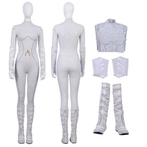 2018 Aquaman Queen Atlanna Cosplay Costume White Suit