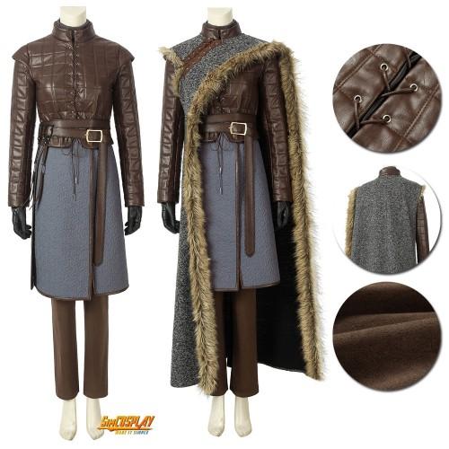 Game of Thrones Season 8 Arya Stark Cosplay Costume Cloak Suits Top Level