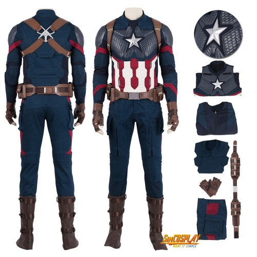 Captain America Costume Endgame Steve Rogers Cosplay Suit Top Level
