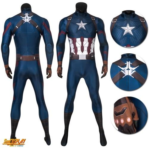 Avengers Endgame Captain America Steve Rogers Cosplay Printed Jumpsuit