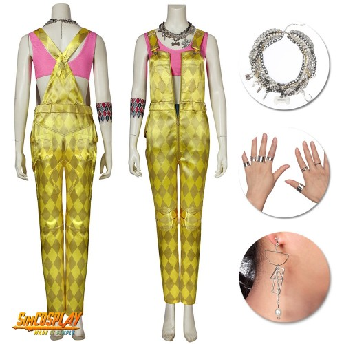 Birds of Prey Harley Quinn Cosplay Costume With Tattoo Stickers and Accessories