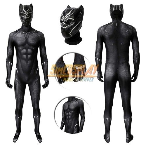 Black Panther Cosplay Suit T'challa Cosplay Costume 3D Printed Edition Top Level