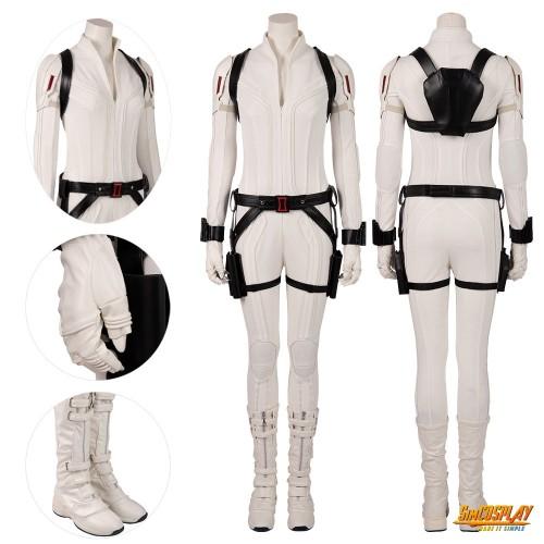 Black Widow White Costumes Natasha Romanoff Cosplay White Suits Top Level
