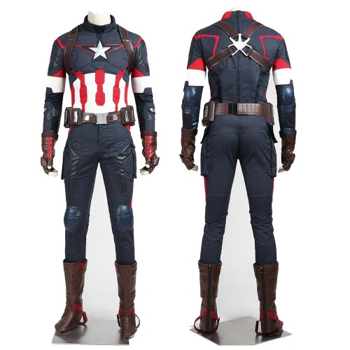 Captain America Cosplay Costumes Avengers 2 Steve Rogers Suit Top Level