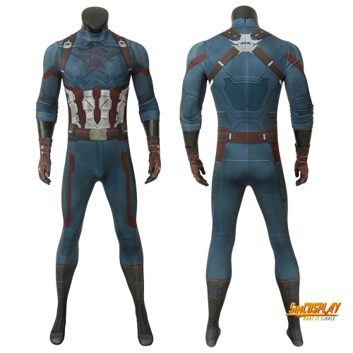 Avengers Endgame Captain America Cosplay Jumpsuit Costume Battlefield Damaged Painted