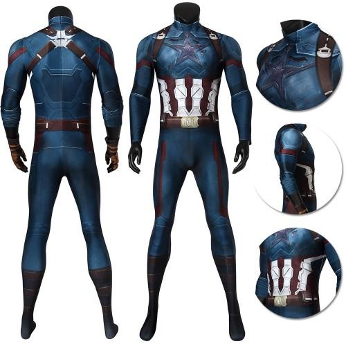 Captain America Cosplay Suit Battlefield Damaged Bodysuit Infinity War Edition