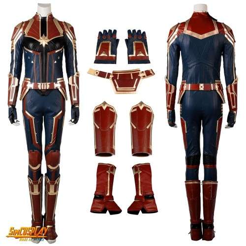 Carol Danvers Costume Bright Gold Color Captain Marvel Leather Cosplay Suit