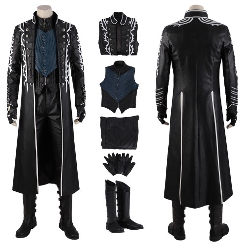 Devil May Cry 5 Vergil Cosplay Costumes Black Trench Coat Top Level