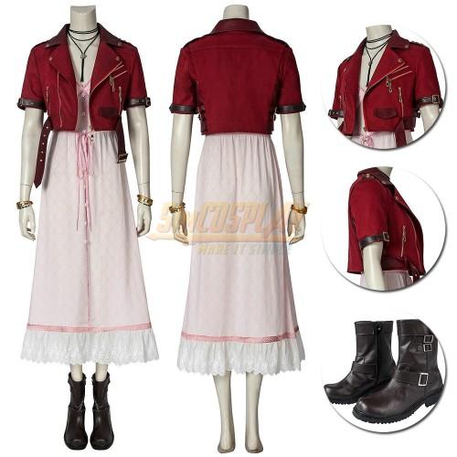 FFVII Remake Aerith Cosplay Costumes Dark Red Edition
