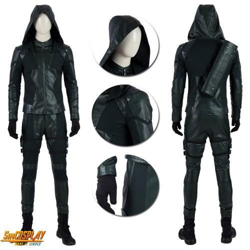 Green Arrow Oliver Queen Costume Season 8 Cosplay Suit Top Level Dark Green