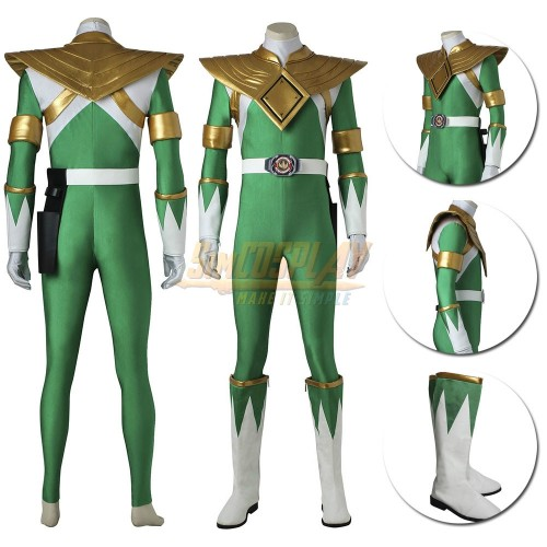 Green Ranger Cosplay Costume Mighty Morphin Power Rangers Tommy Oliver Green Suit