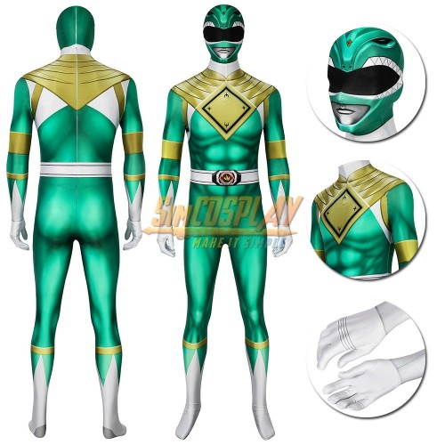 Green Ranger Cosplay Suit Power Rangers Green HQ Printed Spandex Costume
