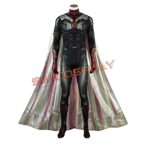 Avengers Vision Cosplay Costume Jumpsuit and Cloak Infinity War Edition