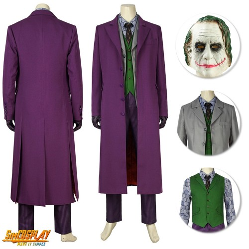 Joker Costume Batman Dark Knight Rise Cosplay Suit Classic Edition