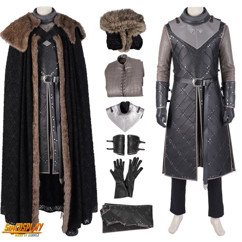 Jon Snow Costumes King Of The North Suit Game of Thrones Season 8 Cosplay