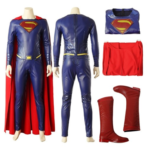 Justice League Superman Clark Kent Cosplay Costume Top Level