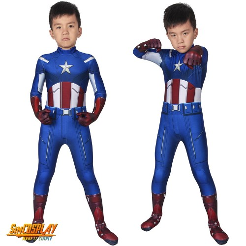 Kids Captain America Cosplay Costume Classic Blue Spandex Suit For Children SKD19028