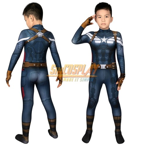 Kids Captain America Suits Winter Soldier Edition 3D Printed Cosplay Costume For Halloween