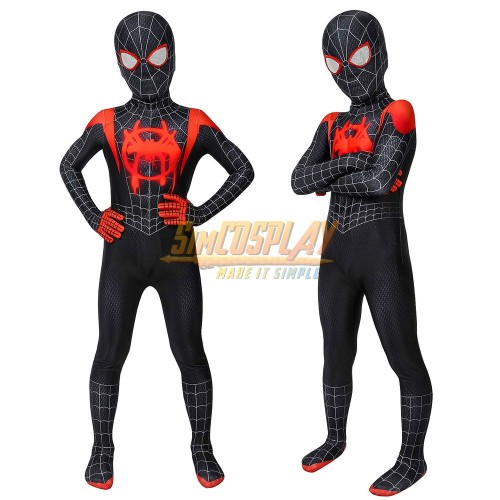 Kids Miles Morales Cosplay Costume Into The Spider Verse Black Spider Suit