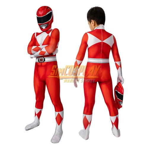 Kids Red Ranger Cosplay Suit 3D Spandex Costume Christmas Gifts for Children