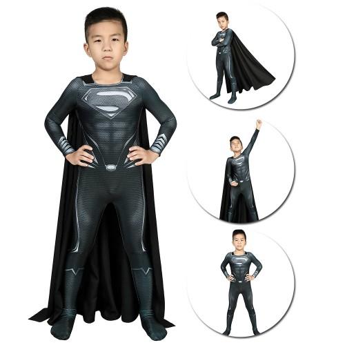 Kids Superman Black Suit Black Superman Cosplay Costume For Children SKD19045