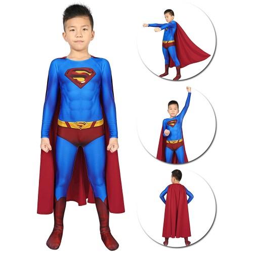 Kids Superman Cosplay Suit Crisis on Infinite Earths Blue Superman Kids Costume