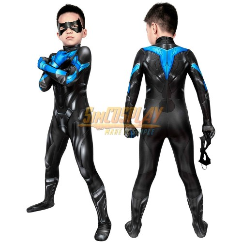 Kids Titans Nightwing Cosplay Suit 3D Printed Costume For Children