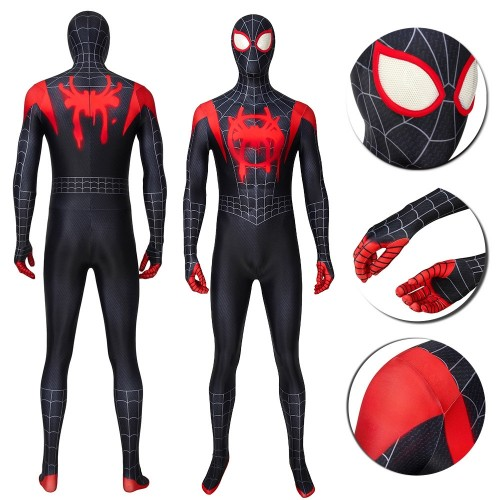 Miles Morales Suit Spiderman Into The Spider Verse Cosplay Costumes Ver.2