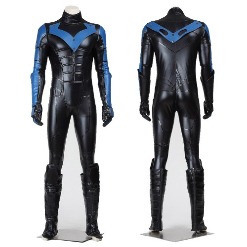 Nightwing Dick Grayson Cosplay Costume Artificial Leather Suit