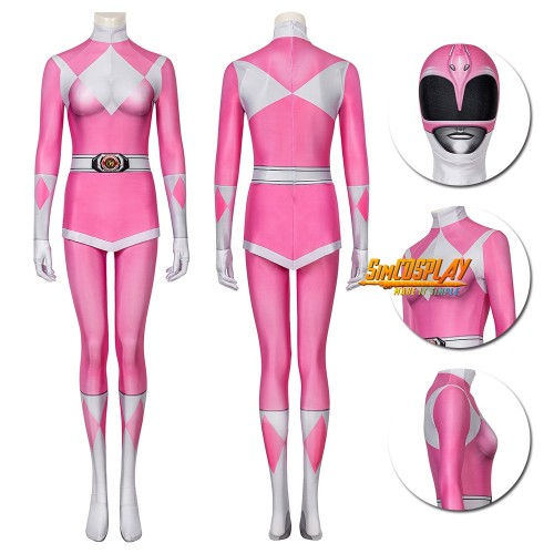 Pink Ranger Spandex Cosplay Suit Mighty Morphin Power Rangers Costume