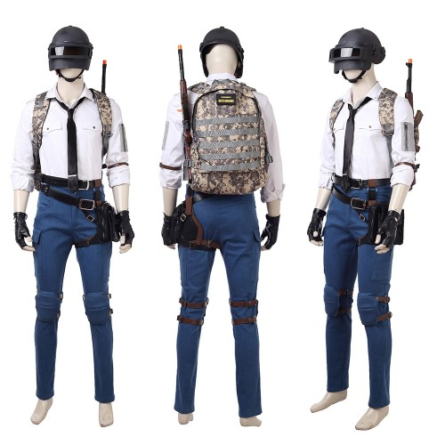 PUBG Cosplay Costume With Level 3 Helmet & Backpack Top Level
