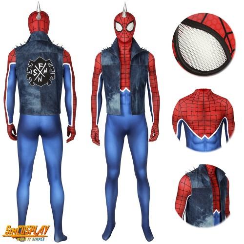 Punk-Rock Spidey Cosplay Costume Hobart Brown Spider-Man Suit Sac4216