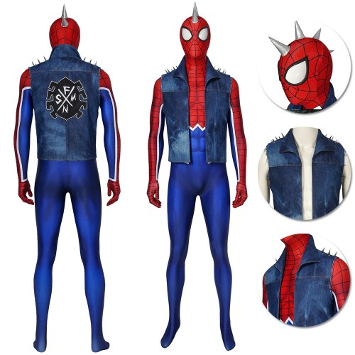 Punk-Rock Spidey Cosplay Costume Hobart Brown Spider-Man Suit Ver.2