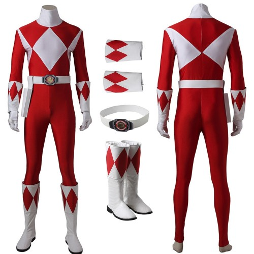 Red Ranger Cosplay Costume Mighty Morphin Power Rangers Suit