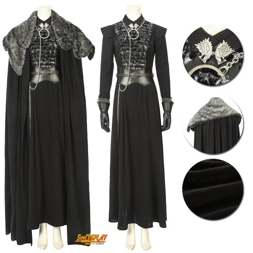 Game of Thrones Season 8 Sansa Stark Cosplay Costume With Cloak Top Level