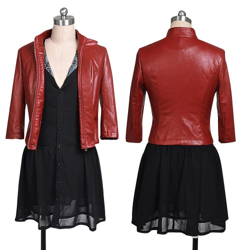 Scarlet Witch Cosplay Costume Red Leather Jacket and Black Chiffon Skirt