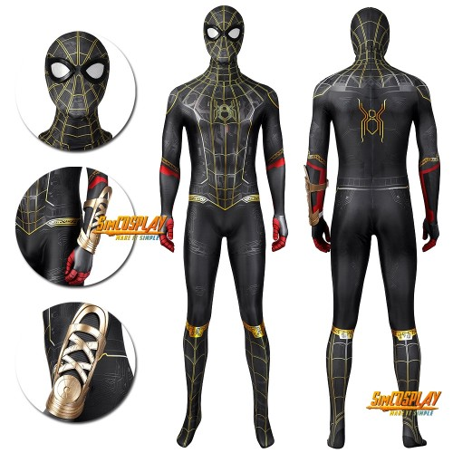 Spider-man No Way Home Cosplay Costume Black Gold Suit