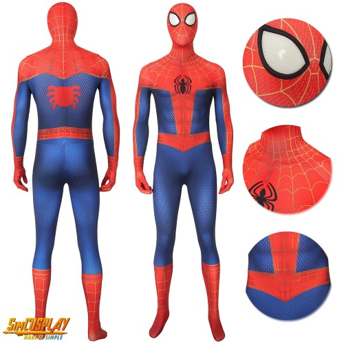 Spider-Man Peter Parker Printed Cosplay Suit Into the Spider-Verse Costume Sac4186