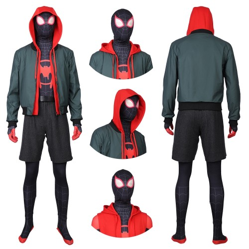 Spider Man Into The Spider Verse Cosplay Costumes Miles Morales Suit Top Level