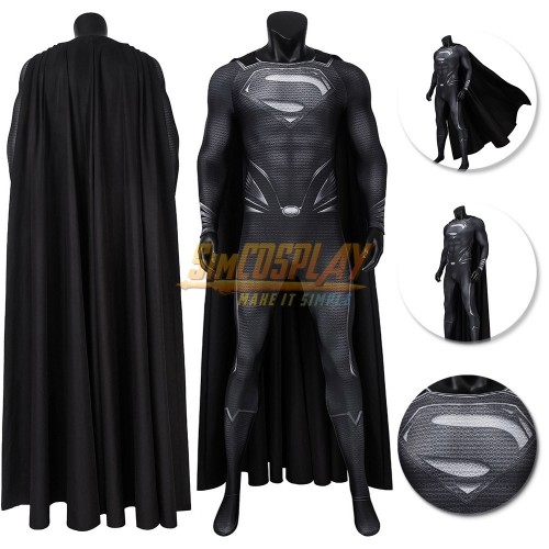 Superman Black Suit Justice League Recovery Suit Cosplay Costume Top Level