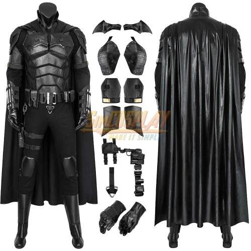 The Batman 2021 Cosplay Costumes Leather Batsuit For Halloween Superhero Cosplay