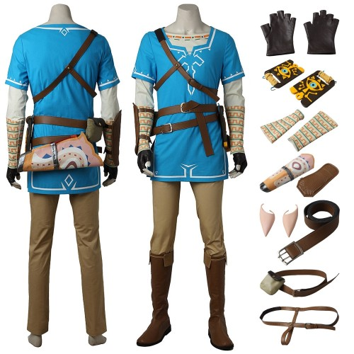 The Legend of Zelda Breath of the Wild Link Blue Tunic Cosplay Costume