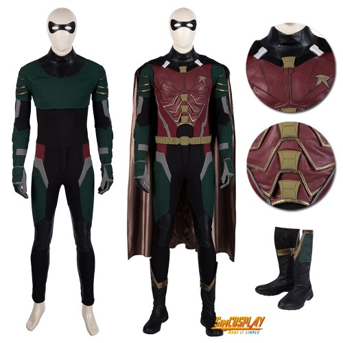 Titans Robin Cosplay Costume Dick Grayson Suit Top Level