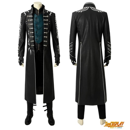 Vergil Cosplay Costumes Devil May Cry 5 Cosplay Black Trench Coat Ver.2