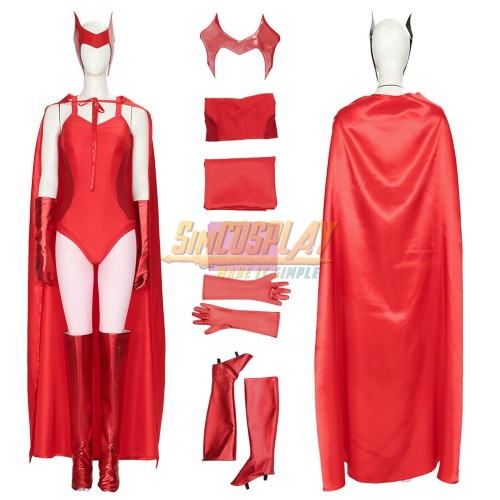 Wanda Cosplay Costume 2021 WandaVision Scarlet Witch Red Suit