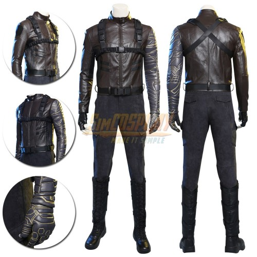 Winter Soldier Costume Bucky Barnes Cosplay Leather Suit Top Level