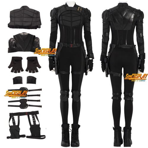 Yelena Belova Black Suit Black Widow 2021 Cosplay Costumes Top Level