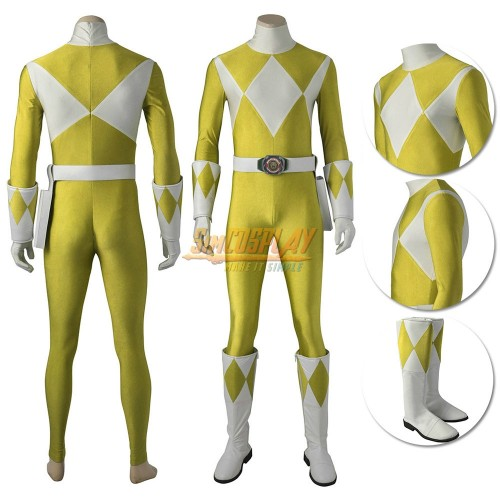 Yellow Ranger Costume Mighty Morphin Power Rangers Cosplay Suit Male Edition