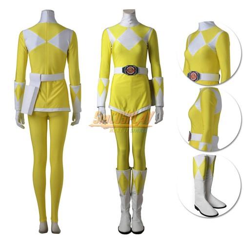 Yellow Ranger Costume Mighty Morphin Power Rangers Trini Kwan Cosplay Suit